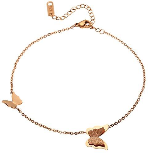 semplice cavigliere d'oro rose/Gioielli colore opaco oro farfalla/ Accessori di moda - Croce D'oro In Rilievo Bracciali