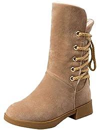 950f469c5 LuckyGirls Botas De Media Caña Botines Forrada de Piel Zapatos De  Plataforma con Cordones para Mujer
