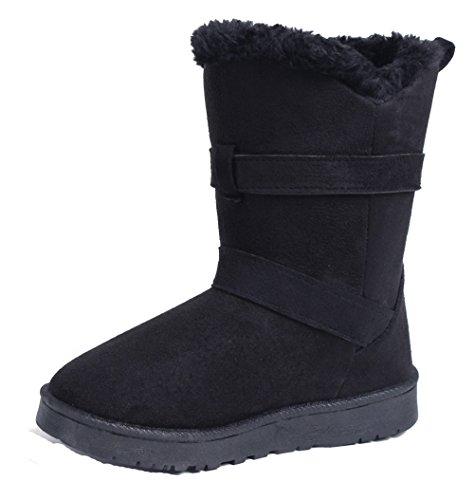 AgeeMi Shoes Mujer Doble Button Bota Nieve Invierno Zapatos Clásicas Botines,EuX13 Negro 39