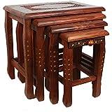 Artesia Sheesham Wood Nesting Tables with Brass Work (Set of 4)