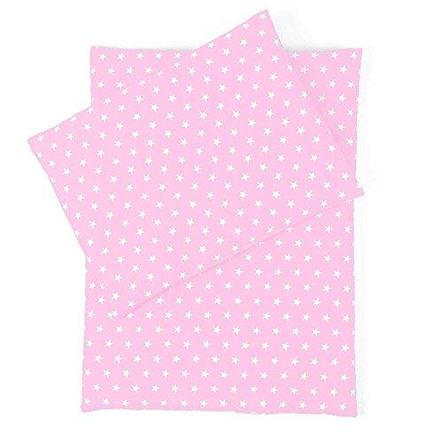 Sugarapple Little Puppenbettwäsche 3-teilig für Puppen Größe 36 cm - 44 cm, Öko Tex Standard, (rosa Sterne weiß) -