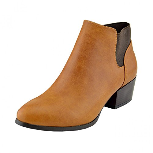 Kick Footwear - Femmes Mesdames Chelsea New Style Bottes Plates À Talons Bas Pull On Ankle Biker Chaussures Tan - F50230