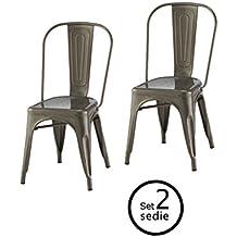 ARREDinITALY Tol502ga Set 2 Stuhle Replica Tolix Stahl Verzinkt Hohe