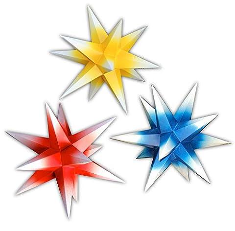 3er Set beleuchtete Sterne aus Papier rot blau gelb Mix, 3d Weihnachtssterne fürs Fenster - Bockelwitzer Stern (Art.Nr.320) inkl. Netzteil mit 3-fach-Verteiler, Fenster-Clip und Distanz-Stab, Durchmesser 19 cm, Papier, komplett handgefertigt, für den Innenbereich