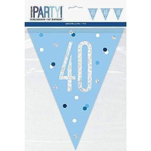 Unique Party- Bandera, Color blue & silver (83440)