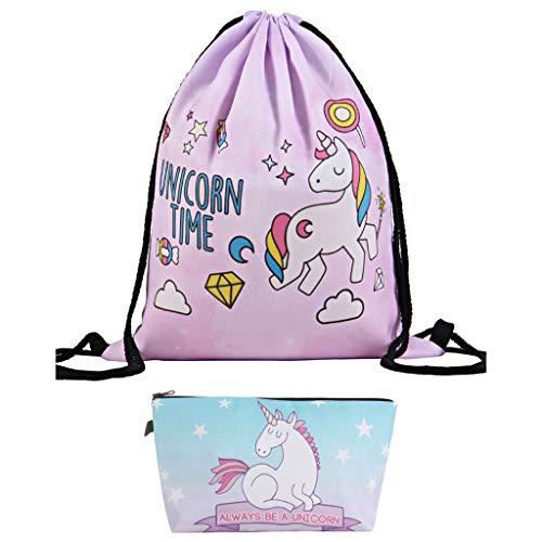 Amycute 2 pcs Unicorno Regali per Ragazze, sacche sportive unicorno + pochette unicorno per scuola, feste, viaggi e palestra, utilizzabile come zaino o borsetta
