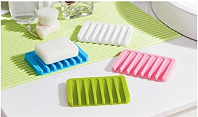 ShopAIS 1Pcs Candy Color, Cute Silicone Soap Dish Bathroom Toilet Plate Soap Holder Tray Water Away Soap Case