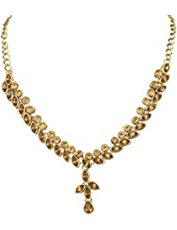 Anand Creations MultiColor Zircon Stone Gold Plated Necklace & Earring Set For Women