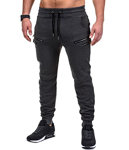 BetterStylz SaschaBZ Jogginghose Zip Slim Fit Sweatpants Jogger Fitness Trainingshose Paris Style div. Farben (S-XXL) (X-Small, Anthrazit)