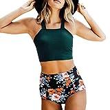 SHE.White Damen Split Blumenmuster Einfarbig Badeanzug Monokini Verstellbarer Oder Nicht Verstellbarer Schultergurt Badeanzüge Hals hängen Bademode Schwimmanzug