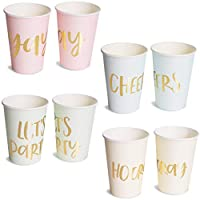 Paper Cups - 52-Pack Disposable Party Cups, Gold Foil Party Supplies for Bachelorette Party, 4 Designs, Let