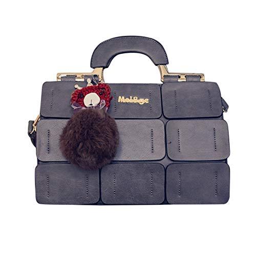 Handtasche Damen, Veloce Umhängetasche Klein Gitter Boston Tasche Haarball Umhängetasche Solid Stilvoll Und Elegant für Einkaufen, Schule, Reisen, Party(Grau)