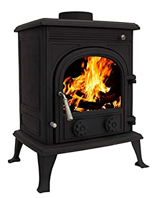Woodburner Cast Iron Log Burner Multifuel Wood Burning Stove Fireplace 8KW TR-A8 Black