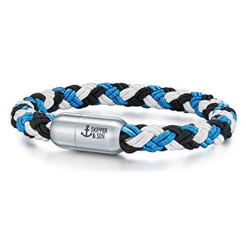 Skipper & Son Herren-Armband Segeltau blau/weiß/schwarz Edelstahl - Herren-Schmuck Arm-Schmuck geflochten mit Geschenkbox