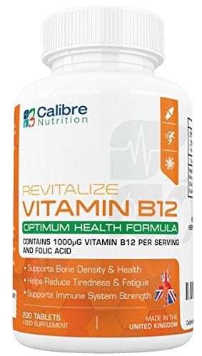 Vitamine B12 avec Acide Folique - 200 Comprimés De Première Qualité de 1400mcg pour Booster votre Humeur, Energie, Concentration et Système Immunitaire - 6 Mois d'Utilisation