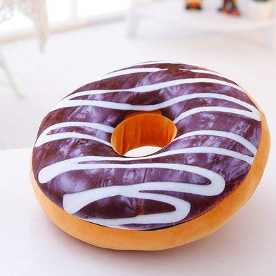 Emmala Der Donut Kissen 3D Niedliche Kissen Baumwolle Kissen Zurück Unikat Taille Mittag Essen Büro Mittel 60 cm Dunkin Donuts (Color : Milch Chocolate, Size : Mittel 60Cm) (Schokolade Orange Peel)