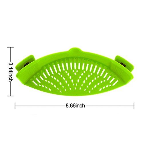 Brühsieb aus Silikon–kalinu Clip auf Pfanne Sieb zum Abtropfen von Lebensmitteln Wasser Einheitsgröße grün