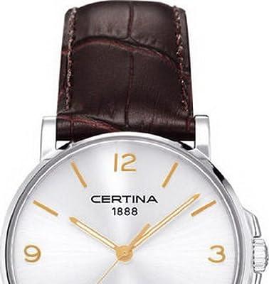 Certina C017.410.16.037.01 - Reloj de cuarzo para hombre, con correa de acero inoxidable, color marrón de Certina