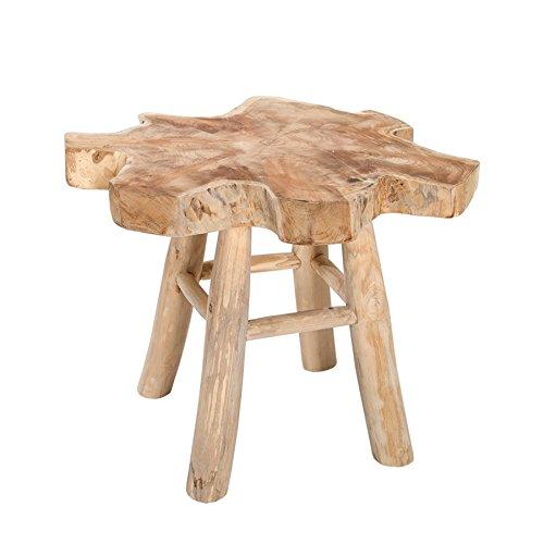 Massiver Teak Baumscheiben Couchtisch ROOT 50cm Beistelltisch aus Echtholz mit Jahresringen Holztisch Hockertisch Hocker Wohnzimmer