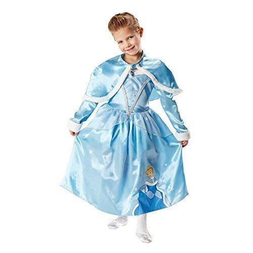 Mädchen Disney Prinzessin Langärmlig Deluxe Cinderella + Schulterjacke Büchertag Kostüm Kleid Outfit 3-8 jahre - Blau, 7-8 Years (Cinderella Deluxe Kleid)