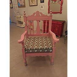 sillón rosa madera maciza.