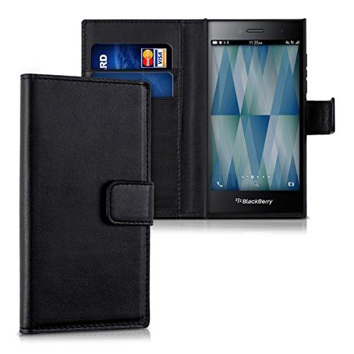 kwmobile Hülle für Blackberry Leap - Wallet Case Handy Schutzhülle Kunstleder - Handycover Klapphülle mit Kartenfach und Ständer Schwarz