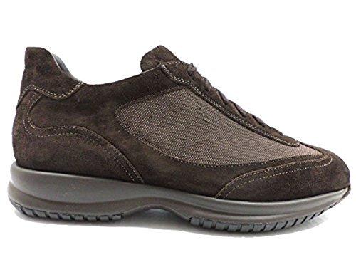 scarpe uomo SANTONI 44 sneakers camoscio tessuto marrone AZ297