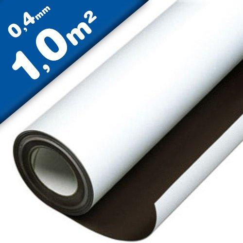 Magnetfolie weiß matt beschichtet - 0,4mm x 1m x 1m - Meterware - flexible magnetische Folie (Magnetschild) bedruckbar - haftet auf allen metallischen Oberflächen - dient nicht als Haftgrund für Magnete