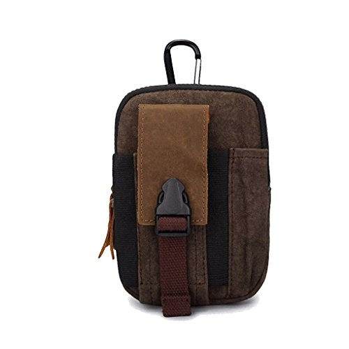 Artone Uomo Tela Pelle Hanging Borsa Cintura Borsa Fit Iphone 6 Plus Marrone