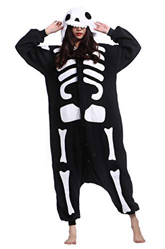 DATO Pyjama Tier Onesies Skelett Erwachsene Kigurumi Unisex Cospaly Nachtwäsche für Hohe 140-187CM