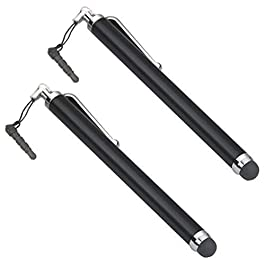 TRIXES Smart Phone Pens Styli – 2 x Black Stylus Pens for Mobile Phones and Tablets Compatible With Mobile Phones, Tablets, iPads, iPhones, Samsung Galaxy Note/Tab, LG & HTC, Kindle Fire etc