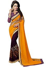 Krishnam Fashion Daily Wear Georgette Saree With Blouse Piece (Yellow And Purple,Free Size,Pack Of 1)