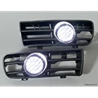 JAMBO Set di 2 x frontali, 6000 k, LED, Fog Lights & Aerazione laterale destra e sinistra per Volkswagen Golf GTI 1999-2004 TDI MK4 UK Stock