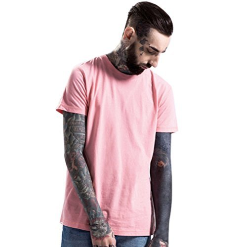 Men's Tee,Neartime O-Neck T-Shirts Short Sleeve Casual Top (XL, Pink)