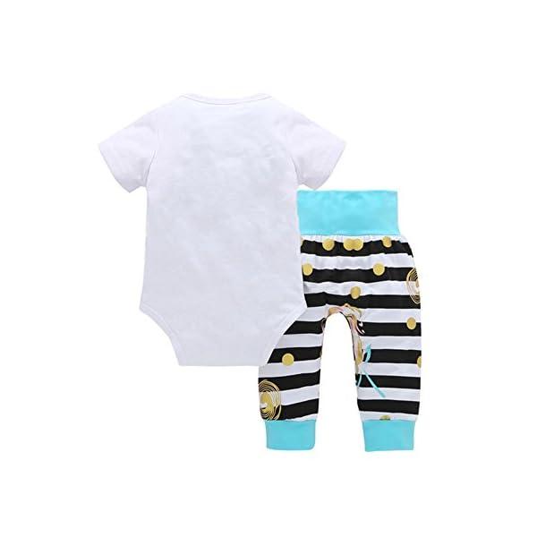 Trisee Trajes de recién Nacidos para 0-24 Meses Bonita Letra Estampado de Mameluco Mono y Raya Pantalones Largos 2Pcs… 2