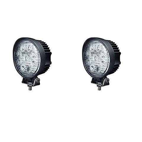 JVJ 2 X Lampe tour LED 27W projecteur spot idéal pour véhicule tout-terrain, chantier, phare bateau, auto 9 - 30V A6