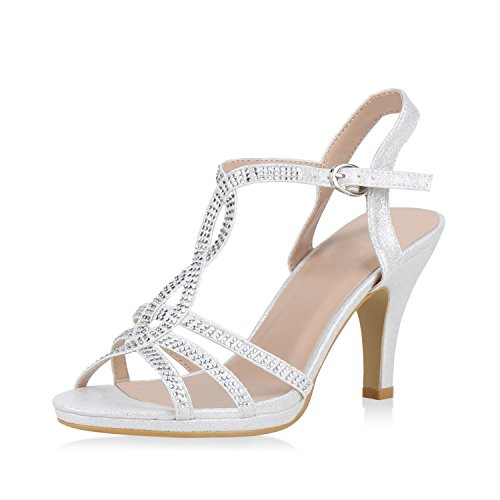 SCARPE VITA Damen Riemchensandaletten Sandaletten High Heels Glitzer Schuhe 165150 Silber Strass 39