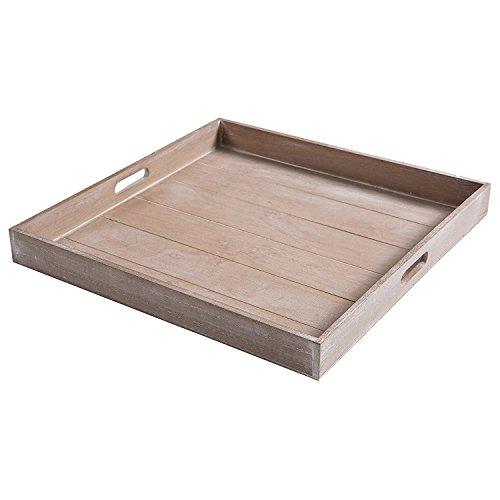 Large Shabby Chic Square Wood Serving Tray for Breakfast in Bed, Tea, Coffee - 47.5 x 47.5CM