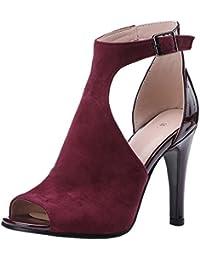 Artfaerie Damen High Heels Transparent Sandalen mit Schnürung und Stiletto Peeptoes Slingback Sommer Ankle Boots Modern Schuhe