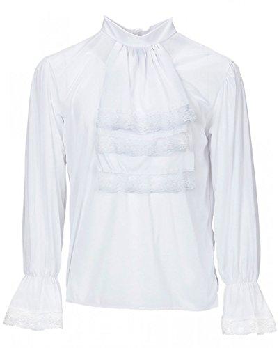 Horror-Shop Weißes Rüschenhemd mit Jabot XL als Kostümzubehör