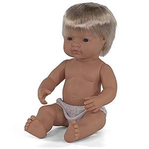 Miniland- Bebé Europeo Niño 38cm Muñeco, Color Real, 31051