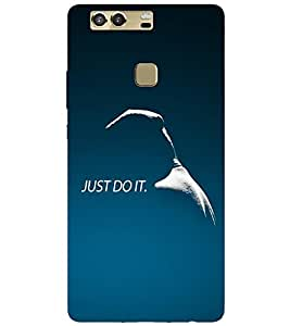 Takkloo just do it tagline of a brand,blue background, sports brand) Printed Designer Back Case Cover for Huawei P9 Plus