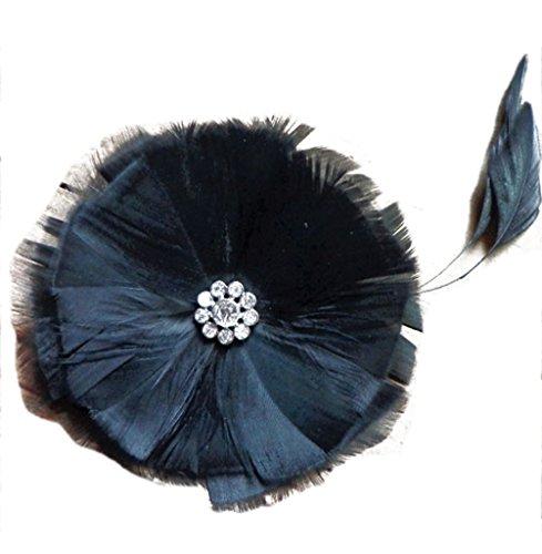 jelinda Vintage Femmes voile visage mariée Bibi avec plume fleur bandeau cheveux clip