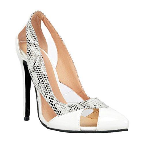 Kolnoo Femmes Handmade Talon haut découpe de style simple partie pompes de bureau de la Cour Chaussures White white