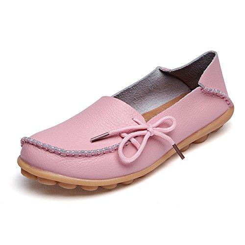 Azue Damen Kunstleder Mokassins Ultra-Weich Loafer Nubukleder Bootsschuhe Flach Geschlossen Schuhe Rosa