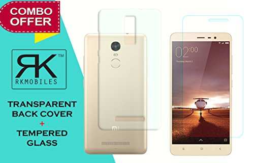 Xiaomi Redmi Note 3 Combo Pack Of Perfect Fitting Soft Transparent Back Cover +Curve Edge Tempered glass Screen Protector(For Xiaomi Redmi Note 3)