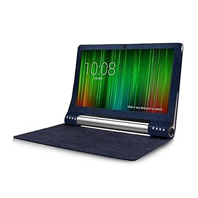 kwmobile 3in1 Set: Hülle für Lenovo Yoga Tablet 2 Pro 13 (1380) mit Standfunktion - Kunstleder Tablet Case Cover Tasche Schutzhülle in Dunkelblau + Folie, kristallklar + Stylus, Schwarz
