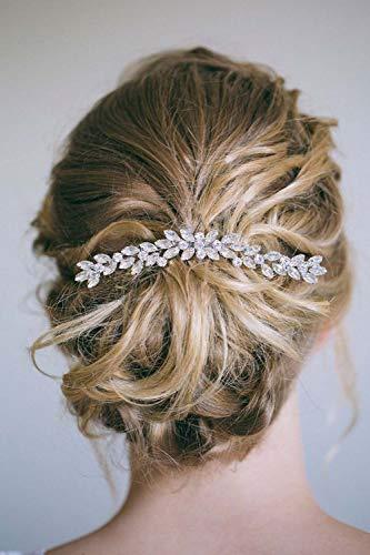 Simsly sposa matrimonio capelli, pettine in cristallo fascia festa nuziale accessori capelli pezzo per donne e ragazze (argento)