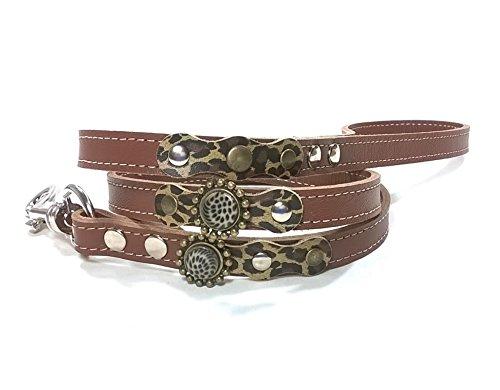 Leopard Hundeleine Design - Modisch Braun Leder mit Nieten und Leopard Steine (Leinen Mini Rock)