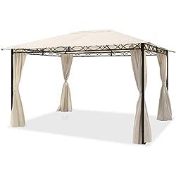 TOOLPORT Pavillon de Jardin Pavillon étanche de 3x4 m avec Tente de Jardin à 4 côtés, bâche de Toit 180 g/m² dans Une Tente de réception Beige